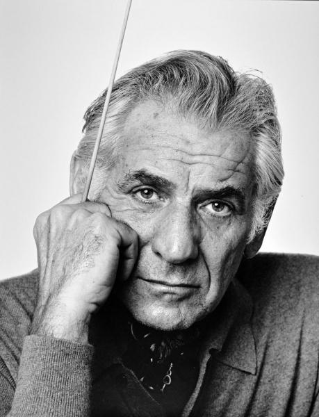 Black and white portrait of Leonard Bernstein.